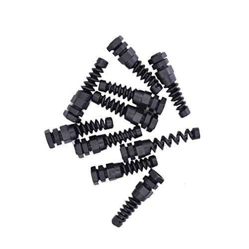 10pcs IP68 Waterproof M12 PG7 Plastic Cable Gland Connector Plastic Flex Spiral Strain Relief Protector for 3.5-6mm Wire Thread
