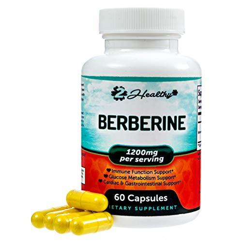 (Premium Berberine 1200mg - 60 Capsules - Berberine HCL Supplement Supports Blood Sugar, AMPK Activator Active PK - Insulin Sensitivity, Immune Function, Glucose Metabolism, Heart, Digestive Vegan Pill)