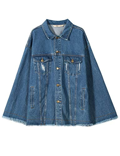 Elf Sack Women Trucker Jacket, Basic Loose Casual Denim for sale  Delivered anywhere in USA