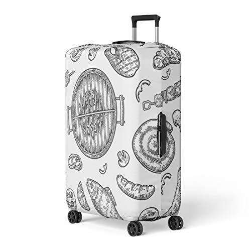(Pinbeam Luggage Cover Barbecue Grill Top View Charcoal Mushroom Tomato Pepper Travel Suitcase Cover Protector Baggage Case Fits 18-22 inches)