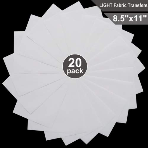 T-Shirt Transfers for Inkjet Printers for Light-Colored, 8.5 x 11, 20 Sheets