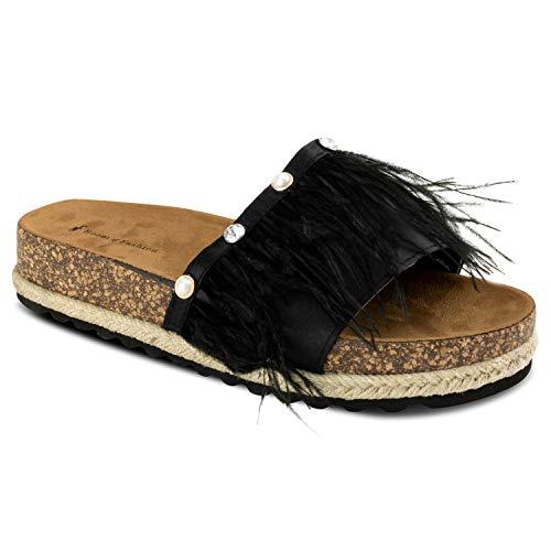 RF ROOM OF FASHION Fur Feather Band Slide On Espadrille Platform Sandals Black Size.8.5