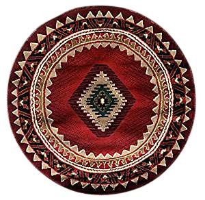 Kingdom South West Native American Round Area Rug Red Black Green Beige Design D143 (4 Feet X 4 Feet) (Round Black And Red Area Rug)