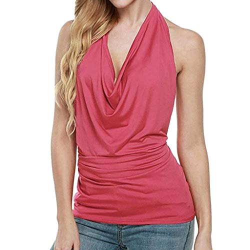 XILALU Women Sexy Halter Drape Cowl Neck Tank Blouse Backless Sleeveless Solid Summer Club Vest Tops Hot Pink