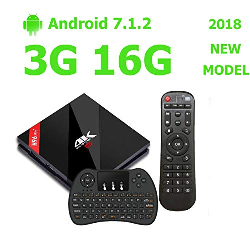 Android 7.1 H96 Pro Plus TV BOX 3G DDR3 16G EMMC Amlogic S912 Octa-core Powerful Set Top Box with Bluetooth 4.1 Dual Band 2.4G/5G WIFI 1000M Ethernet [ Comes with Mini Keyboard ] by ESTGOUS