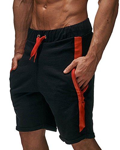 Leif Nelson Gym Short fitness Training Pantalon 07231, - Noir/rouge, XX-Large