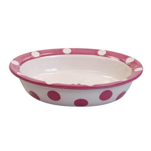 Petrageous Designs Polka Paws 6.25″ Oval Pet Bowl, Pink, My Pet Supplies