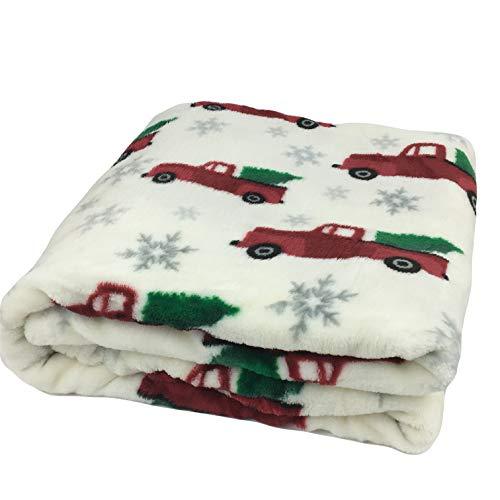 Morgan Throw - Morgan Home Christmas Velvet Plush Throw Blanket Red Trucks with Trees 50-inch x 60-inch Fashions
