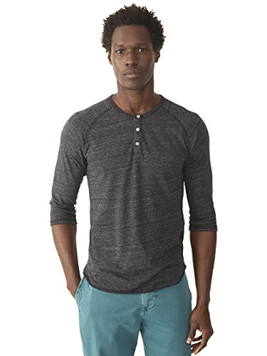 Alternative Men's Raglan 3/4 Sleeve Henley Shirt, Eco Black, - Sleeve Henley Raglan 3/4