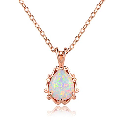 IBBM I WILL BE YOUR BEST MEMORY Pendant Necklace for Women - 18K Rose Gold Plated Brass - Opal Teardrop Pendant - Long Chain Fashion Women Birthstone Necklace