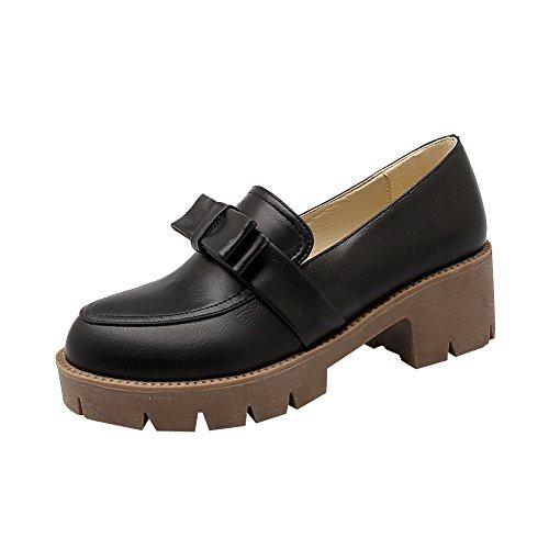 Mee Shoes Damen bequem mit Schleife Geschlossen chunky heel Pumps Schwarz