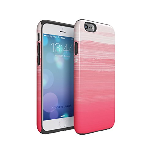 Candy Pink Watercolor Ombre Lines Hard Plastic Shell & TPU Bumper Double Layer Tough Phone Case For Apple iPhone 6 & iPhone 6s (667 Hipster)