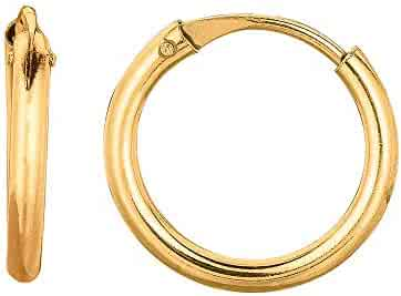 10K Yellow Gold Shiny 1.5x13x20mm Oval Hoop Earrings by IcedTime