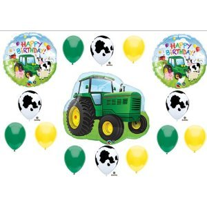 Farm Scene Green Tractor - Tractor Birthday Party Balloons Decorations Farm Animal Cow John Deere Shower (MULTI, 1) by Anagram