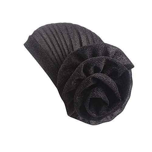 Women Chemo Cap Shower Cap Stretch Bright Thread Floral Turban Hat Head Scarf Wrap Cap Hats for Cancer Patients (Free Size, Black)