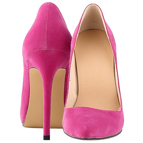 fereshte Women's Velveteen High Heel Dress Pumps With Multi Colors Rose Red IM3Ar3
