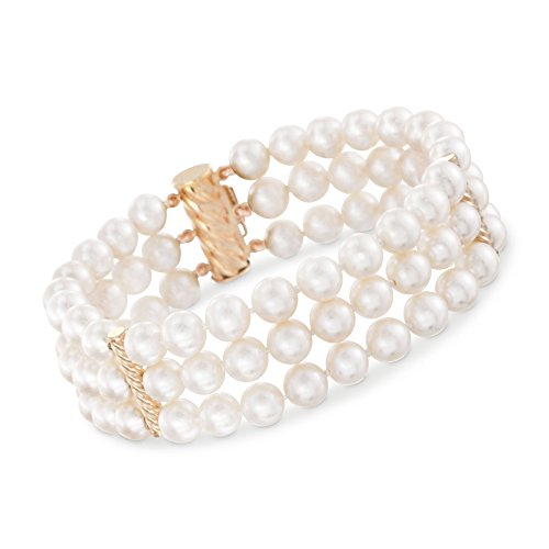 Ross-Simons 6-6.5mm Cultured Pearl Three-Row Bracelet With 14kt Yellow Gold