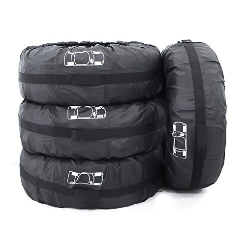 (AJZGF Outdoor Car tire Cover tire Package Spare tire Cover Three Colors Optional (Color : Black+White Logo, Size : S-66x48cm))