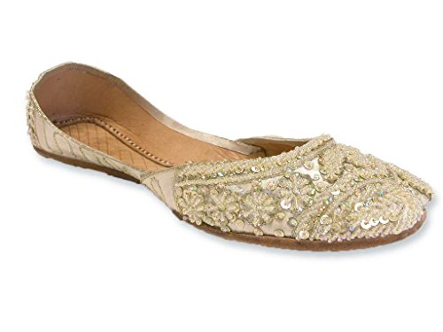 Light Lemon Cream Beaded Wedding Flats Khussa Indian Sari Bridal Shoes Womens 9