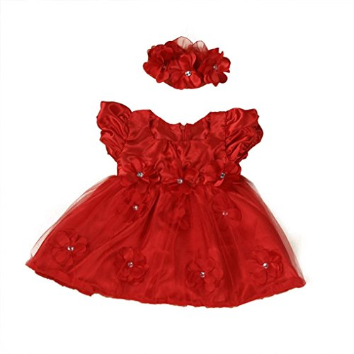 WuyiMC Clearance Baby Girls Red Lace Princess Headband Dresses For Christmas/New Year (Red, 0-6 Months) -