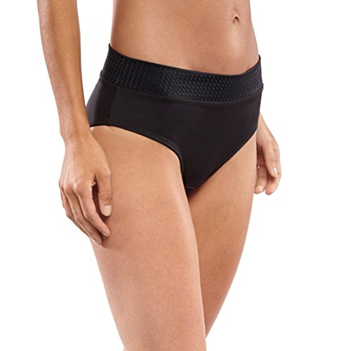 Nylon Briefs Cut High (Carole Martin Women's Panties Wide Waist Band Ultra Soft Microfiber Comfort Briefs Underwear Black XXX)