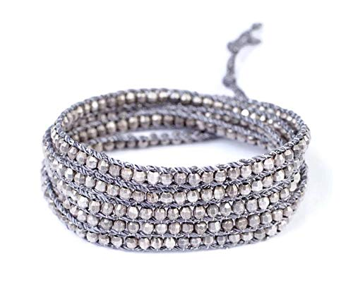Chan Luu Antique Silvertone Nugget Wrap Bracelet on Grey Cord
