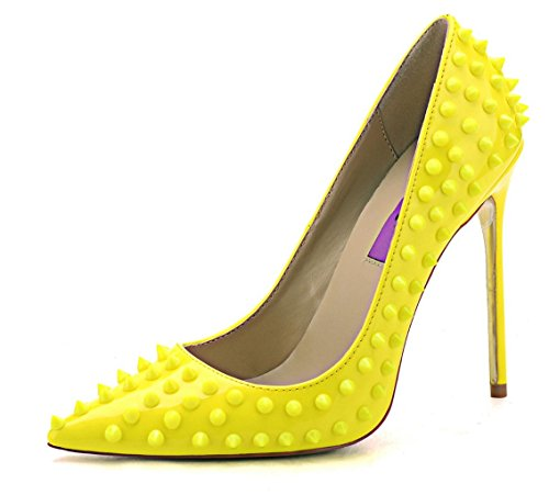 Jiu du Women's High Heel for Wedding Party Pumps Fashion Rivet Studded Stiletto Pointed Toe Dress Shoes Yellow Patent PU Size US6 EU37