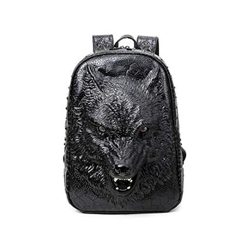 PU Black sac portable Open filles tête dos sac adapté Mouth bandoulière cuir ordinateur mode adolescentes de de en Sac 3D loup cool les BqFawqg0
