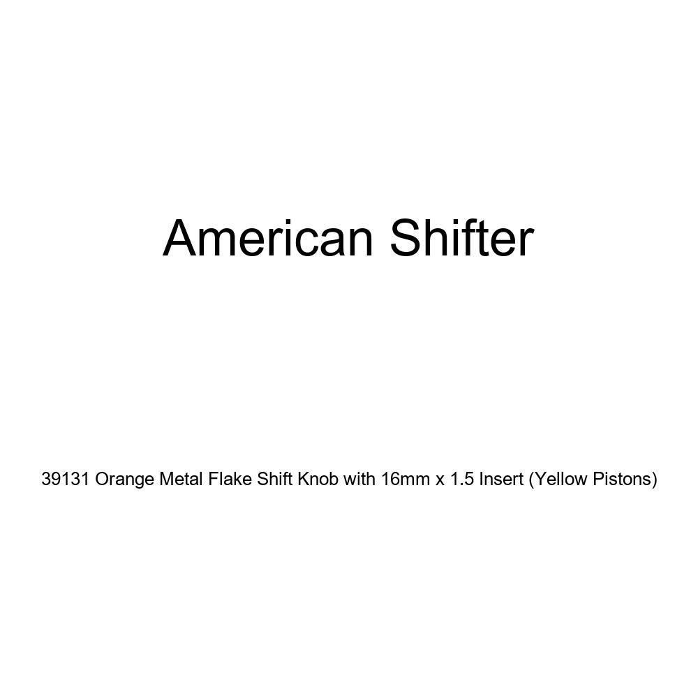 American Shifter 39131 Orange Metal Flake Shift Knob with 16mm x 1.5 Insert Yellow Pistons