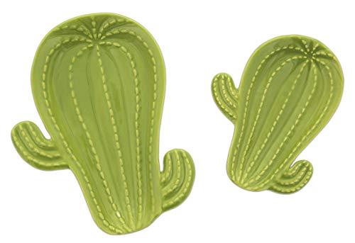 Barry Owen Co. Set of 2 Decorative Ceramic Cactus Plates