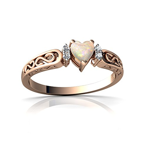 14kt Rose Gold Opal and Diamond 4mm Heart filligree Scroll Ring - Size 6