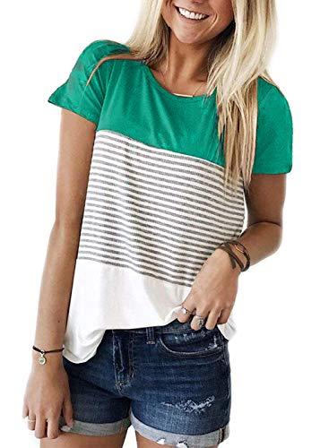 (TWKIOUE Short Sleeve Shirt Round Neck Triple Color Block Stripe T-Shirt Casual Blouse Green M)
