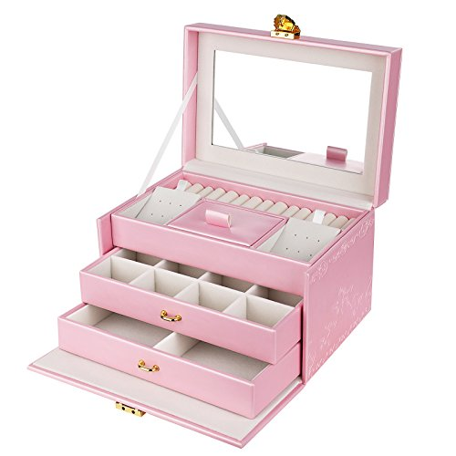 SONGMICS Girls Jewelry Box Lockable Embossed Storage Case Rose Organizer Mirrored Jewelry Holder, Gift for Mom, Pink UJBC116 by SONGMICS