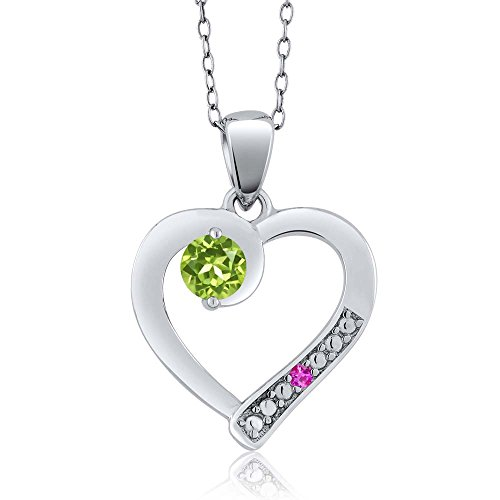 Round Green Peridot Pink Sapphire 925 Sterling Silver Pendant (0.32 cttw)