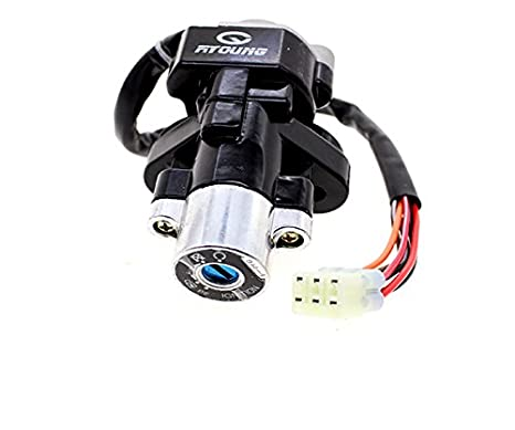 FXCNC Racing CNC Scooter 4 Wire Ignition Switch Fuel Gas Cap Cover With Key Lock Set Motorcycle Accessories Fit For Moped 50 125 150 GY6 Taotao Roketa Scooter