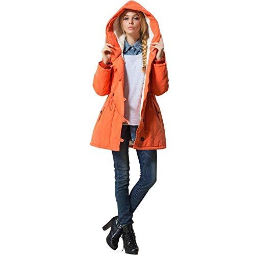 Mujer Invierno Naranja Manga Parka Outerwear Largo Outdoor Termica Abrigos Tallas Retro Áspera Cómodo Grandes Transición Colores Adelina Espesar Sólidos Encapuchado Casuales Elegantes 5qEwnw1fg