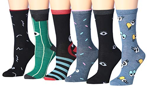 Tipi Toe Women's 6-Pairs Colorful Funky Patterned Crew Dress Socks (WC46-A) ()