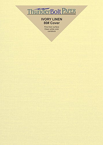 Ivory Linen Cardstock (100 Ivory Linen 80# Cover Paper Sheets - 4.5