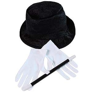 Kids Unisex Basic Magician Hat, Glove and Wand Set