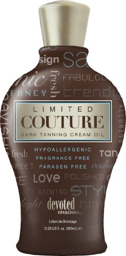 Devoted Creations Limited Couture Hypoallergenic Paraben Free Dark Tanning Creme Oil 12.25 oz. by Devoted Creations
