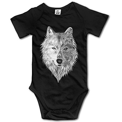 V5DGFJH.B Toddler Climbing Bodysuit Big Wolf Head Infant Climbing Short-Sleeve Onesie Jumpsuit 12 Months