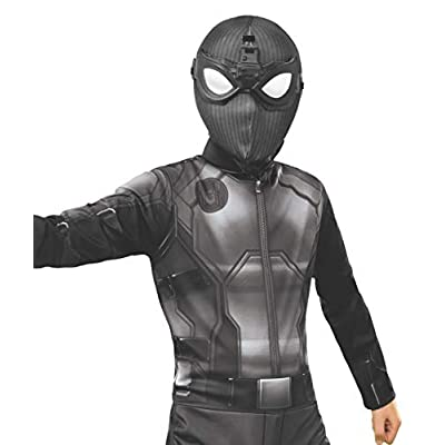 Rubie's Marvel Spider-Man Far from Home Child's Stealth Spider-Man Deluxe Fabric Mask with Molded Goggles: Toys & Games