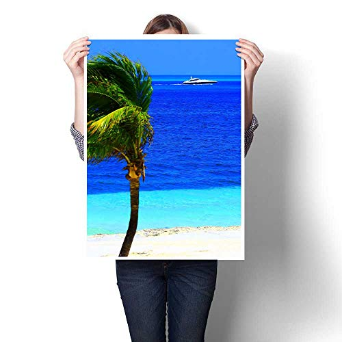Anniutwo Landscape paintingIdyllic Deserted Turquoise Palm Beach and yatch in Cancun MexicoOil Painting decoration16 x32