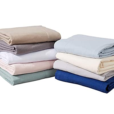 Great Bay Home Extra Soft 100% Cotton Flannel Sheet Set. Warm, Cozy, Lightweight, Luxury Winter Bed Sheets in Solid Colors.