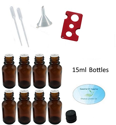 15ml Amber Glass Bottles with Euro Orifice Reducer Tops (Pack of 8), Funnel, Pipettes, and Essential Oil Bottle Opener (Cglasses)