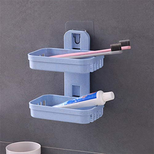 LtrottedJ Soap Storage Bathroom Shower Soap Box Dish Storage Plate Tray Holder Case Soap Holder Double (Blue)