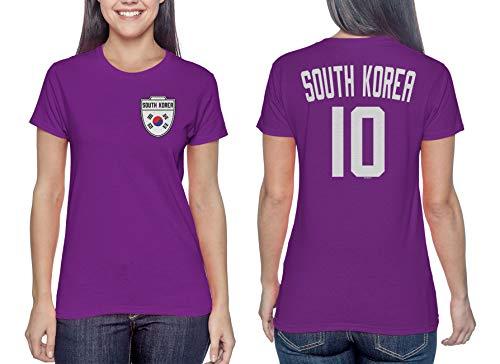 South Korea Soccer Jersey - Korean Ladies T-Shirt (Purple, Medium) (Korea Soccer Pride T-shirt)