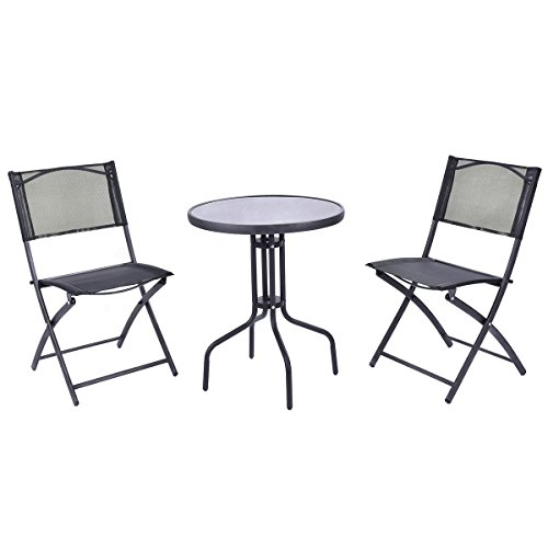Giantex 3 Pcs Bistro Set Garden Backyard Table Folding Chairs Outdoor Patio Furniture (Outdoor Chair Set)