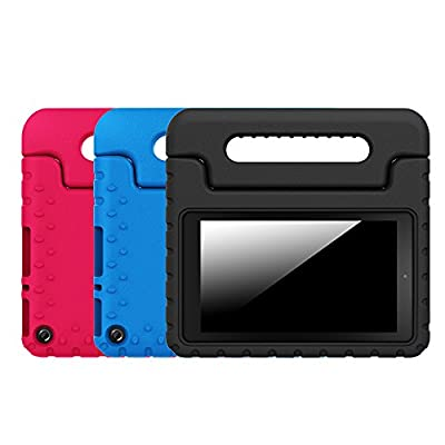 "[3-Pack] Fintie Shock Proof Case for Fire Tablet Variety Pack - Light Weight Convertible Handle Stand Cover [Kids Friendly] for Amazon Fire 7 2015 Tablet (Fire 7"" Display 5th Gen), Black/Blue/Magenta"