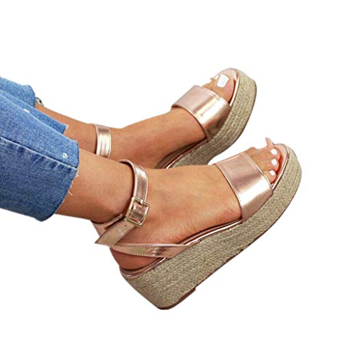 Cenglings Wedges Sandals,Women's Open Toe Leopard Print Ankle Strap Buckle Platform Wedges Espadrilles Flatform Roman Shoes Gold